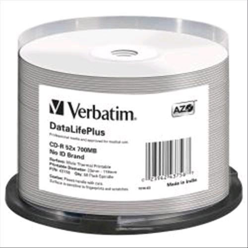 VERBATIM CD-R 700MB PER STAMPA TERMICA WHITE CAMPANA 50PZ VERBATIM 0023942437567