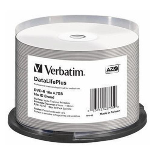 VERBATIM 43755 DVD-R 4.7GB 16X CONFEZIONE CAMPANA DA 50 DVD (43755/50) VERBATIM 0023942437550