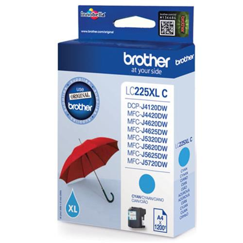 BROTHER LC225XLC CARTUCCIA CIANO PER MFC J4420DW-J4620DW-J5320DW-J5620DW-J5720DW 1.200PG Brother 4977766735957