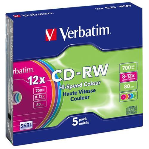 VERBATIM 43167 5 JEWEL CASE CD-RW 12X VERBATIM 0023942431671