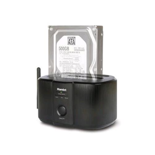 """HAMLET HXDDWIFI DOCKING STATION PER HDD SATA 2.5""""/3.5"""" MAX 4TB CONNESSIONI USB 3.0 + WIRELESS COLORE NERO HAMLET 8000130591517"""