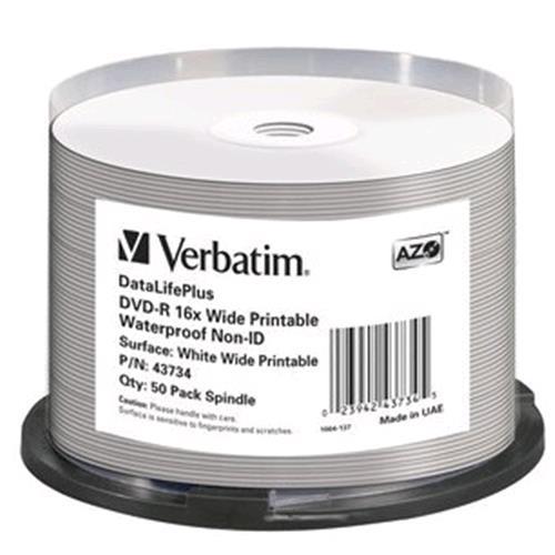 VERBATIM DVD-R 16X WIDE PRINTABLE WATERPROOF NO ID BRAND 4.7GB 50 Pz. VERBATIM 0023942437345