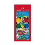 FABER CASTELL ACQUERELLI PASTIGLIE TEMPERA ACQUARELLABILI 30 mm COLORI ASSORTITI 12 Pz.
