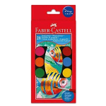 FABER CASTELL ACQUERELLI PASTIGLIE TEMPERA ACQUARELLABILI 30 mm COLORI ASSORTITI 21 Pz.