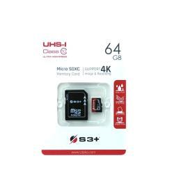S3Plus S3+ MEMORY CARD MICRO SDXC 64GB CLASSE 10 CON ADATTATORE MICRO SD