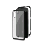 CELLY APPLE iPHONE XS MAX COVER MAGNETICA IN ALLUMINIO + VETRO TEMPERATO TRASPARENTE NERO